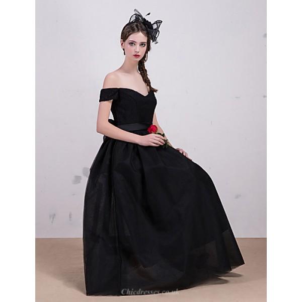 Formal Evening Dress - Black A-line Bateau Tea-length Lace / Tulle Special Occasion Dresses