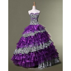 Formal Evening Dress Grape Ball Gown Sweetheart Floor Length Organza