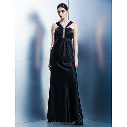 Formal Evening Dress - Black Sheath/Column Halter Floor-length Charmeuse