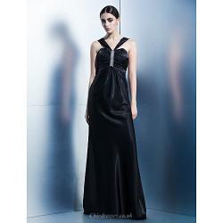 Formal Evening Dress Black Sheath Column Halter Floor Length Charmeuse