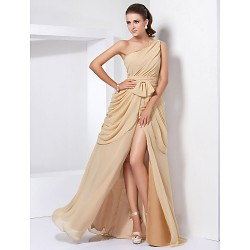 Formal Evening / Military Ball Dress - Gold Plus Sizes / Petite A-line / Princess One Shoulder Floor-length Chiffon