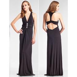 Sheath Column V Neck Floor Length Jersey Evening Dress