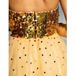 TS Couture Prom / Formal Evening Dress - Gold Plus Sizes / Petite A-line Sweetheart Floor-length Tulle / Sequined Special Occasion Dresses