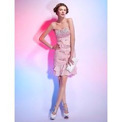 Cocktail Party Dress - Pearl Pink Plus Sizes / Petite Sheath/Column Strapless / Sweetheart Short/Mini Sequined / Chiffon