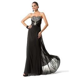 Formal Evening / Military Ball Dress - Black Plus Sizes / Petite Sheath/Column Sweetheart / Strapless Floor-length Chiffon
