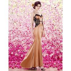 Formal Evening Dress Brown Trumpet Mermaid Spaghetti Straps Floor Length