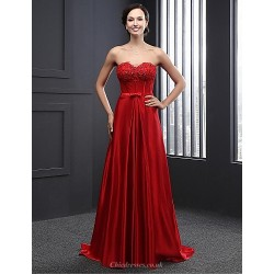 Formal Evening Dress - Ruby A-line Strapless Sweep/Brush Train Charmeuse