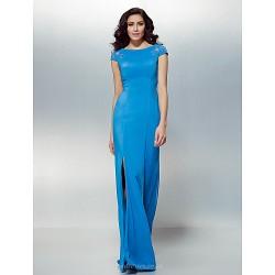Formal Evening Dress - Ocean Blue Plus Sizes / Petite Sheath/Column Jewel Floor-length Chiffon