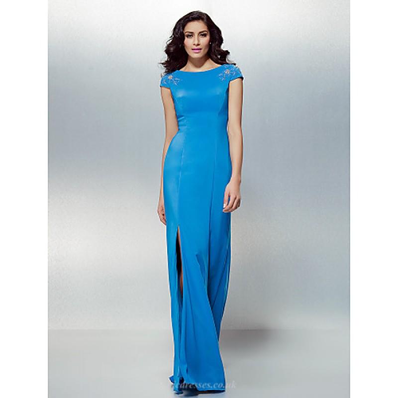 b607fc603cf Formal Evening Dress - Ocean Blue Plus Sizes   Petite Sheath Column Jewel  Floor-