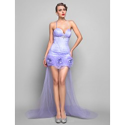 Formal Evening Dress Lavender Plus Sizes Petite Sheath Column Spaghetti Straps Asymmetrical Tulle