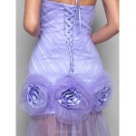 Formal Evening Dress - Lavender Plus Sizes / Petite Sheath/Column Spaghetti Straps Asymmetrical Tulle Special Occasion Dresses