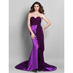 Formal Evening Dress Grape Plus Sizes Petite Trumpet Mermaid Sweetheart Court Train Georgette Stretch Satin