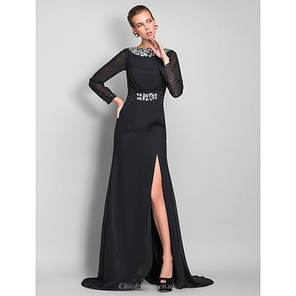 TS Couture Formal Evening / Military Ball Dress - Black Plus Sizes / Petite Sheath/Column Bateau Floor-length Chiffon Special Occasion Dresses