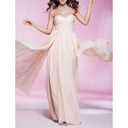 Prom Military Ball Formal Evening Dress Pearl Pink Plus Sizes Petite Sheath Column Strapless Sweetheart Floor Length Chiffon