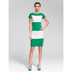 Cocktail Party Dress - Multi-color Sheath/Column Scoop Short/Mini Cotton