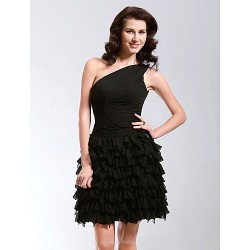 Cocktail Party Sweet 16 Dress Black Plus Sizes Petite A Line Princess One Shoulder Short Mini Chiffon