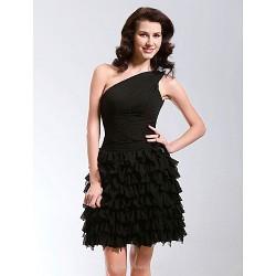 Cocktail Party / Sweet 16 Dress - Black Plus Sizes / Petite A-line / Princess One Shoulder Short/Mini Chiffon
