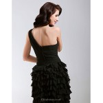 TS Couture Cocktail Party / Sweet 16 Dress - Black Plus Sizes / Petite A-line / Princess One Shoulder Short/Mini Chiffon Special Occasion Dresses