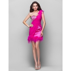 Cocktail Party / Prom Dress - Fuchsia Plus Sizes / Petite A-line / Princess One Shoulder Short/Mini Chiffon / Stretch Satin