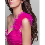 TS Couture Cocktail Party / Prom Dress - Fuchsia Plus Sizes / Petite A-line / Princess One Shoulder Short/Mini Chiffon / Stretch Satin Special Occasion Dresses