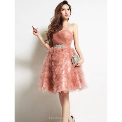 Cocktail Party Dress Pearl Pink Strapless Knee Length Tulle