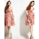 Cocktail Party Dress - Pearl Pink Strapless Knee-length Tulle Special Occasion Dresses
