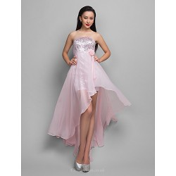 Cocktail Party Holiday Dress Candy Pink Plus Sizes Petite A Line Strapless Asymmetrical Chiffon Sequined