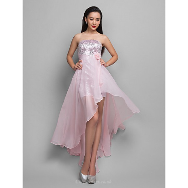 TS Couture Cocktail Party / Holiday Dress - Candy Pink Plus Sizes / Petite A-line Strapless Asymmetrical Chiffon / Sequined Special Occasion Dresses