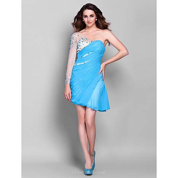 Cocktail Party / Prom / Holiday Dress - Pool Plus Sizes / Petite Sheath/Column One Shoulder Asymmetrical Chiffon Special Occasion Dresses