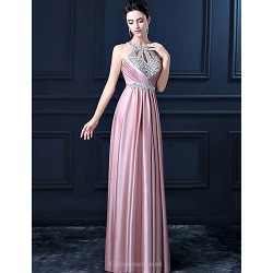 Formal Evening Dress Pink Sheath Halter Long Floor Length Satin With Sequins Beadings