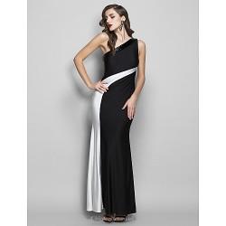 Formal Evening Prom Military Ball Dress Black Plus Sizes Petite Sheath Column One Shoulder Floor Length Jersey