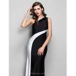 Formal Evening / Prom / Military Ball Dress - Black Plus Sizes / Petite Sheath/Column One Shoulder Floor-length Jersey Special Occasion Dresses