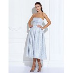 Cocktail Party / Prom / Holiday Dress - Silver Plus Sizes / Petite A-line Strapless Tea-length Satin / Lace Special Occasion Dresses