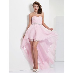 Prom / Formal Evening Dress - Blushing Pink Plus Sizes / Petite A-line / Princess Sweetheart / Strapless Asymmetrical / Floor-length