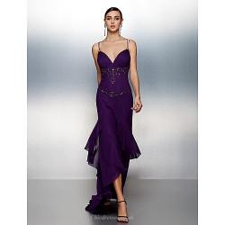 Formal Evening Dress Grape Plus Sizes Petite Sheath Column Spaghetti Straps Asymmetrical Chiffon