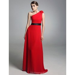 Prom / Military Ball / Formal Evening Dress - Ruby Plus Sizes / Petite Sheath/Column One Shoulder Floor-length Chiffon / Stretch Satin