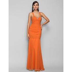 Formal Evening Prom Military Ball Dress Orange Plus Sizes Petite Trumpet Mermaid Halter Floor Length Chiffon