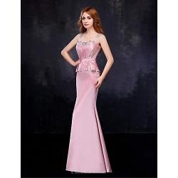 Formal Evening Dress Blushing Pink Trumpet Mermaid V Neck Floor Length Satin