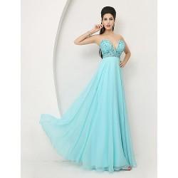 Formal Evening Dress Sky Blue A Line Sweetheart Floor Length Chiffon