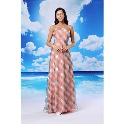 Formal Evening Dress Candy Pink A Line Strapless Floor Length Organza Satin