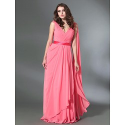 Prom Military Ball Formal Evening Dress Watermelon Plus Sizes Petite A Line Princess V Neck Floor Length Chiffon Stretch Satin