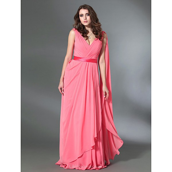 Prom / Military Ball / Formal Evening Dress - Watermelon Plus Sizes / Petite A-line / Princess V-neck Floor-length Chiffon / Stretch Satin Special Occasion Dresses