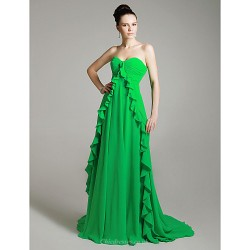Formal Evening Dress Clover Plus Sizes Petite A Line Princess Strapless Sweetheart Court Train Chiffon