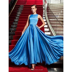 Formal Evening Military Ball Dress Ocean Blue Plus Sizes Petite A Line Jewel Floor Length Satin Chiffon