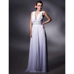 Prom Military Ball Formal Evening Dress White Plus Sizes Petite Sheath Column V Neck Floor Length Chiffon