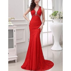 Formal Evening Dress Ruby Plus Sizes Trumpet Mermaid V Neck Chapel Train Lace