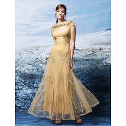 Formal Evening Dress Gold Plus Sizes Petite A Line Bateau Ankle Length Tulle