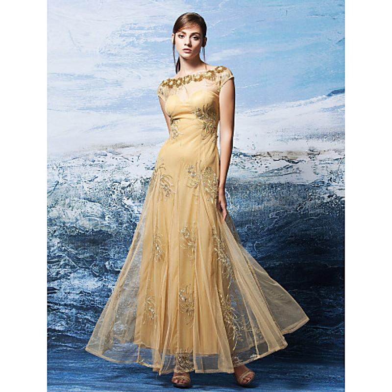Formal Evening Dress Gold Plus Sizes Petite A Line