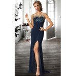 Formal Evening Dress - Dark Navy / Ruby / Ivory Plus Sizes / Petite A-line Jewel Floor-length Chiffon Special Occasion Dresses