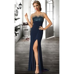 Formal Evening Dress - Dark Navy / Ruby / Ivory Plus Sizes / Petite A-line Jewel Floor-length Chiffon